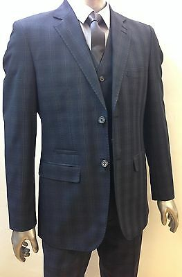 Designer Mens Checked Vintage 3 Piece Suit Blue Jacket Prince of Wales Check