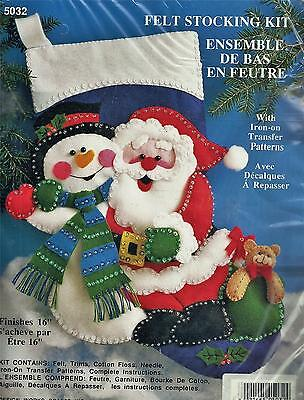 Designs Works Felt Christmas Stocking Kit 5032 Santa & Snowman Embroidery Sewing