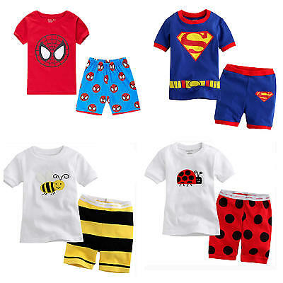2pcs Cotton Homewear Baby Boy Top+Pants Shorts Kids Pajamas Outfit Clothing Sets