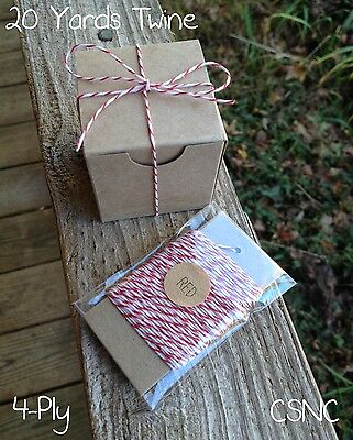 20 Yards Baker's Twine  - Red + White  4-Ply Cotton Twine - Crafts - Bakery