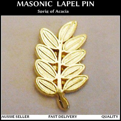 Masonic 25mm Gold Sprig of Acacia Leaf Lapel Pin Mason Freemason Imortality