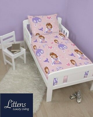 Sofia The First Academy Junior Toddler Cot Bed Bundle, Duvet, Pillow, 4 in 1