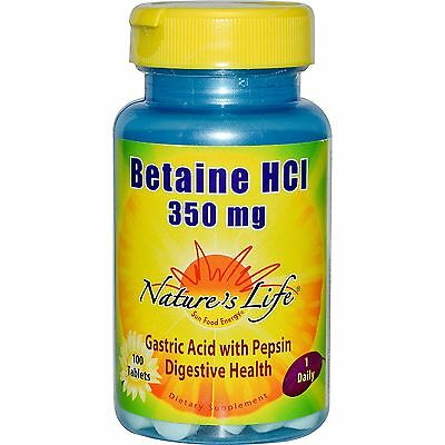 BETAINE HCL + PEPSIN : DIGESTIVE AID / SUPPORT HYDROCLORIDE ACID 350 MG x 100