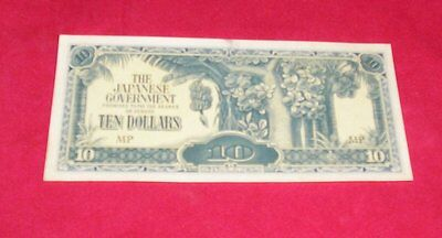 THE JAPANESE GOVERNMENT 10 Ten Dollars WWII BANKNOTE