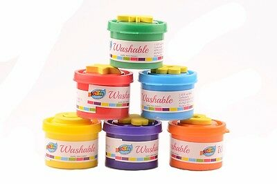 Finger Paint Set 6 Stamps 6 Colors Washable Non-toxic Safe Great for kids age 3+