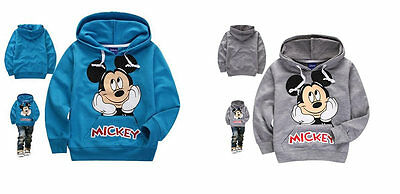 Kids Hoodies Baby Boys  Clothes Suits Mickey 1-7 Years Gray Blue Toddler Tops