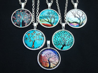 Tree of Life Glass Cabochon Pendant Charm On Silver Necklace Chain - 6 Styles
