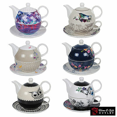Tea for One Set with Saucer - Comes in a MATCHING GIFT BOX - 6 VARIOUS DESIGNS