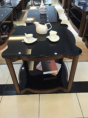 Small Coffee Table with Black Glass and Solid Wood Veneer Rounded Edge