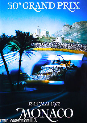 1972 30th Monaco Grand Prix Automobile Race Car Advertisement Vintage Poster