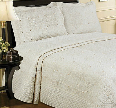New! Luxury Cotton Cream Gold Embroidered Quilted Bedspread Set Throw Elegant