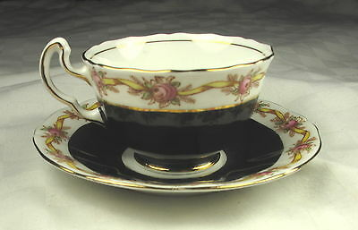 Adderley Lawley 1295B Bone China Coffee Cup & Saucer - Black & Roses