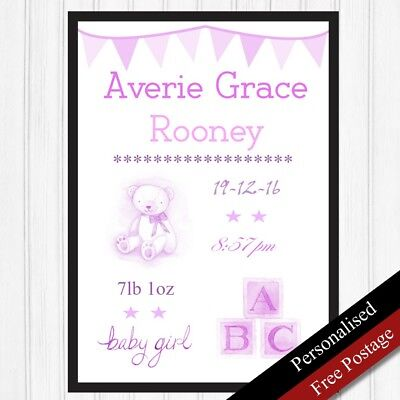 Newborn Baby Girl Personalised Gift. New Baby Birth Nursery Keepsake PRINT ONLY