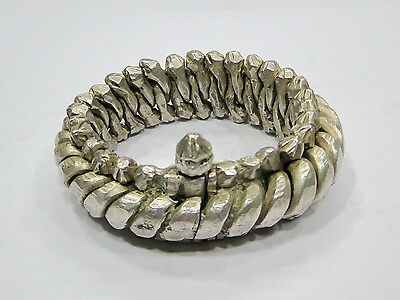 Vintage antique ethnic tribal old silver flexible chain bracelet bangle handmade