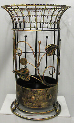 Antique Looking Copper Round Brown Metal Wrought iron Umbrella Holder Stand