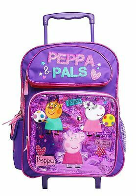 """Peppa Pig & Pals 16"""" inches Rolling Backpack NEW for Girls Licensed Product"""