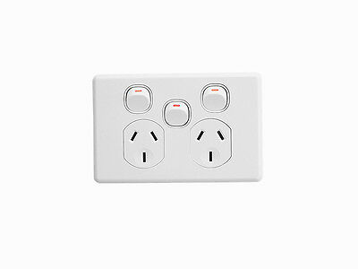 Clipsal White C2025XA Double Powerpoint with Extra Switch 10A GPO Power Outlet