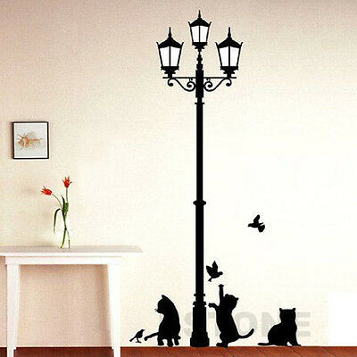 Street Light And Cat Room Decor Decal Vinyl Removable Mural Art PVC Wall Sticker