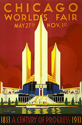 A0 poster print  for glass frame  art deco chicago world fair Vintage painting