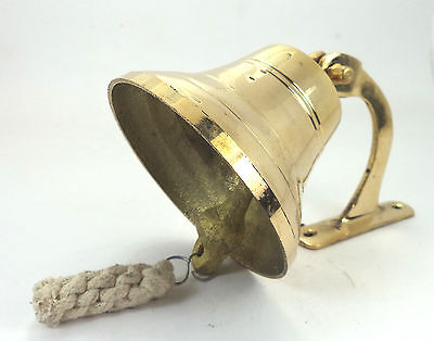 """Vintage Maritime Brass Ship Bell wall mounted bracket 7 """" / Temple Bell indian"""