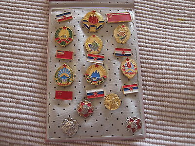 Set of 19 pin badges - Flags and emblems of Yugoslavia, the republic Extra, rare