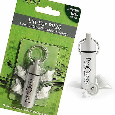 PROGUARD LIN-EAR PR20 Earplugs For Musicians, DJ's, Music Lovers Etc - Ear Plugs