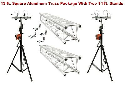 Two 14' Crank Up Stands With Two 6.56' Square Aluminum Truss Segments Package