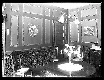 Glass Plate Negative 5x8 Stag Horns Interior of Home c. 1900