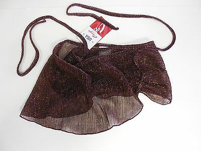 New with Tags CAPEZIO Flare Brown Wrap Skirt Gold Purple Lurex Threads GOR