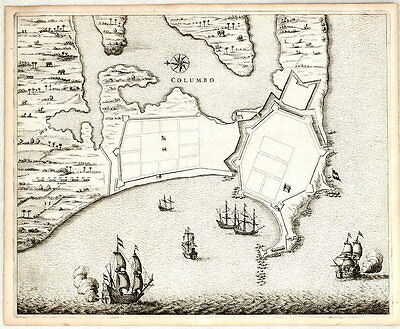 ANTIQUE MAP - 1672 - COLUMBO - SRI LANKA - CEYLON  - VOC -  Baldaeus - 1672