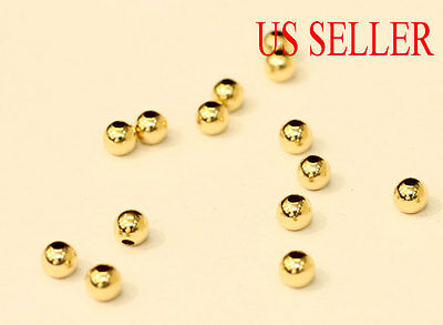 10k solid gold 2mm 3mm 4mm  round polish beads  (price for 10 pieces )