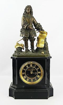"""ANTIQUE FRENCH HIGH QUALITY 19th CENTURY MANTEL BRONZE CLOCK 20"""" TALL  NEED WORK"""