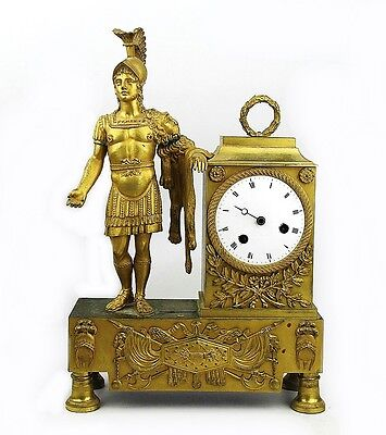 """ANTIQUE FRENCH HIGH QUALITY 19th CENTURY MANTEL BRONZE CLOCK 14"""" TALL  NEED WORK"""