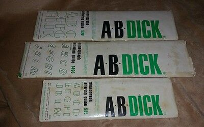 LOT OF 3 AB DICK LETTERING GUIDE STENCILS VINTAGE OFFICE MIMEOGRAPH SUPPLIES