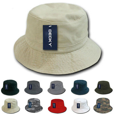 DECKY Washed Cotton Twill Fisherman's Polo Fitted Bucket Chino Hats Caps Unisex