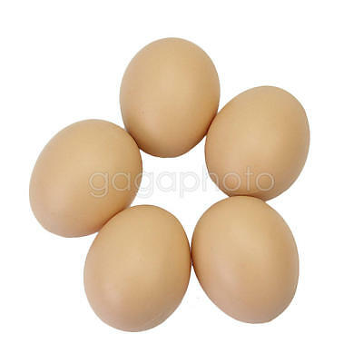 5Pcs Chicken Hen Poultry Fake Plastic Eggs 53x44mm Kitchen Party Home Decor