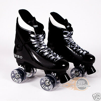 Ventro Pro Turbo Quad Roller Skates, Bauer Style - Airwave Wheels Clear