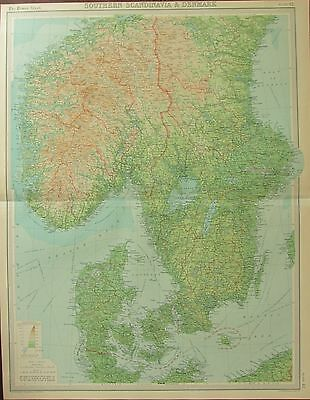 1922 Large Antique Map ~ Southern Scandinavia & Denmark ~ Norway Seden