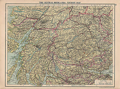 1929 Map ~ The Central Highlands ~ Tourist Map