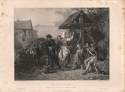 1853 Victorian Print ~ The Tired Soldier ~ F. Goodall