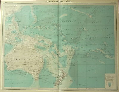 1922 Large Antique Map ~ South Pacific Ocean Australia New Zealand Steamer Cable