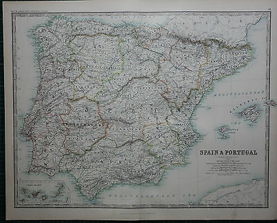 1887 Large Victorian Map ~ Spain & Portugal ~ Canary Islands Balearic