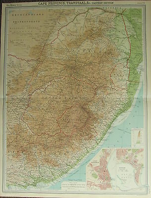 1922 Large Antique Map ~ Cape Province Transvaal Eastern ~ Port Elizabeth Durban