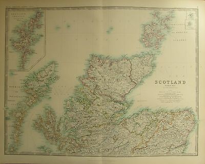 1887 LARGE VICTORIAN MAP ~ SCOTLAND NORTHERN ~ SHETLAND ORKNEY ISLANDS ROSS etc