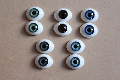 SOLID GLASS EYES 10mm FLAT BACK OVAL FOR OOAK BABIES *PHIL DONNELLY BABIES*