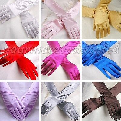 Chic Women Wedding Opera Satin Stretch Gloves Evening Party Prom Gloves 35cm
