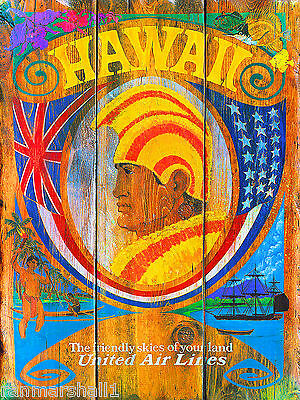 Hawaii Hawaiian King Oahu United States America Travel Advertisement  Poster