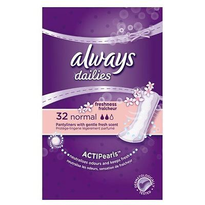 5 x Always Dailies Pantyliners Normal Freshness With Gentle Fresh Scent 32 Count