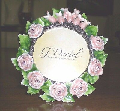 "G DANIEL small ENAMEL PICTURE FRAME w/ SWAROVSKI CRYSTALS 3"" /Pink Roses NWT"