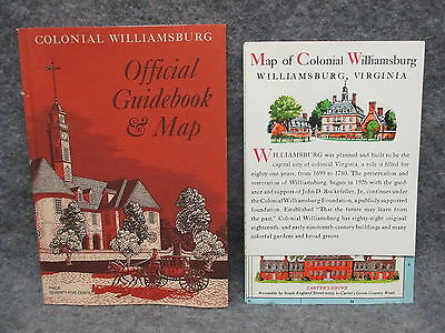 1979 Colonial Williamsburg Official Guidebook & Map Complete w/ Map